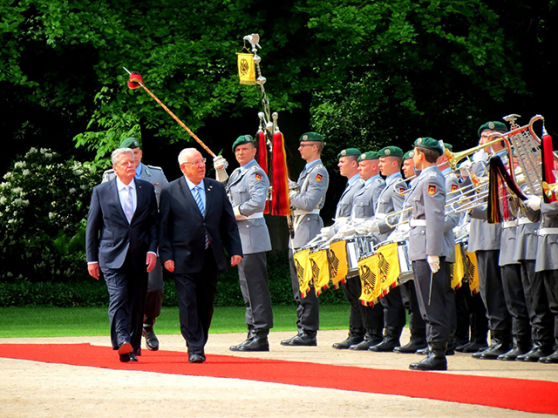 history 2015 - Israeli President Rivlin inspecting German troops - Present Day